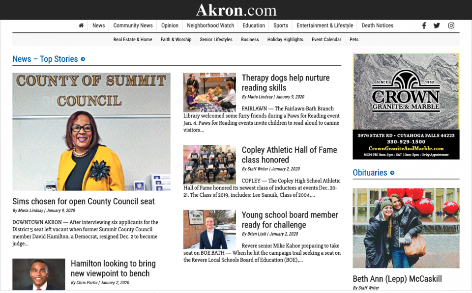 Akron.com re-launches with Our Hometown!