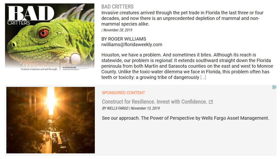 "In the example above from Naples Florida Weekly, notice how the second article has a darker background and a bright orange ""Sponsored Content"" tag to let readers know it is not editorial content."