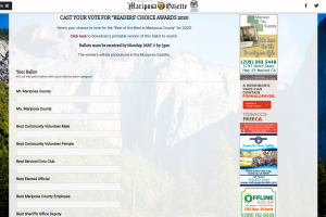 "Mariposa Gazette's ""Readers Choice"" Contest"