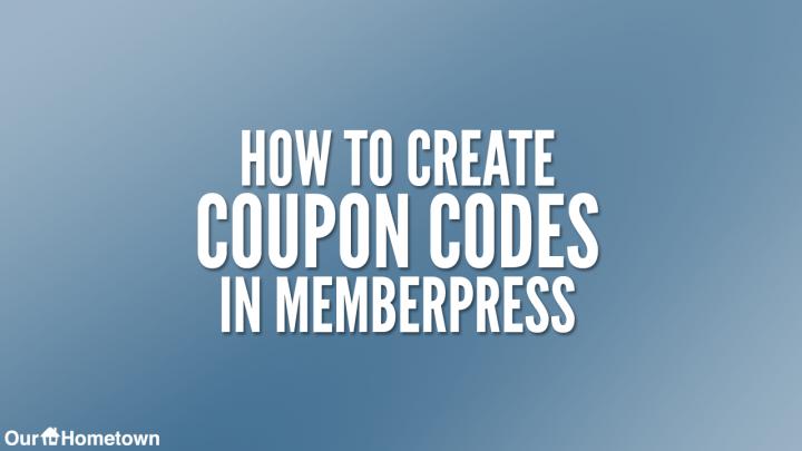Creating Coupons in Memberpress