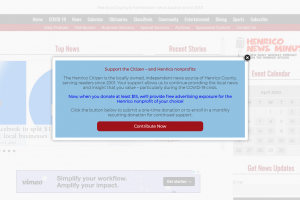 Donation Popup on homepage