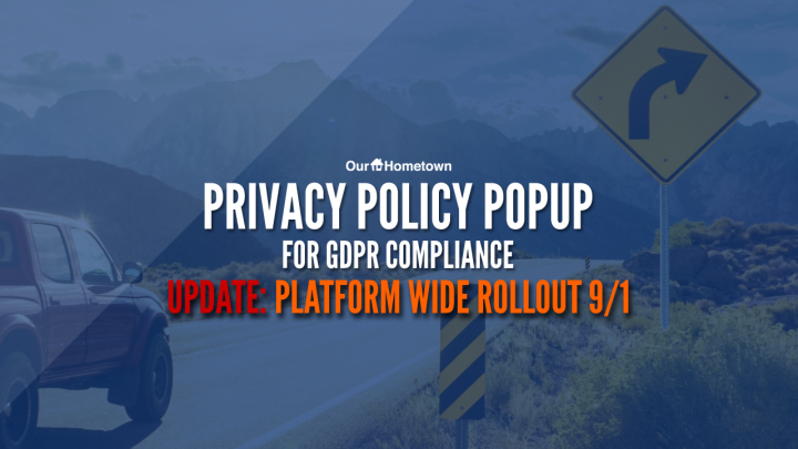 Announcement: GDPR Privacy Policy Popup will be activated platform-wide on September 1